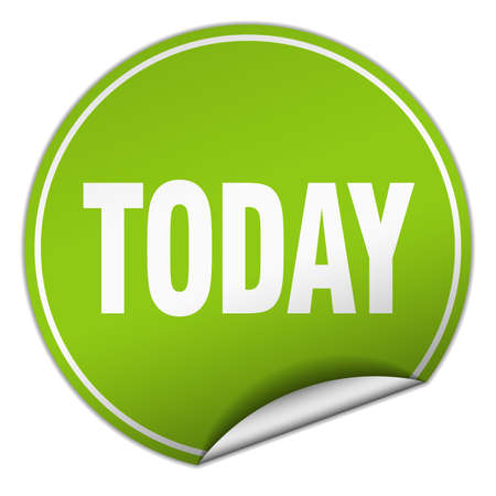 today: today round green sticker isolated on white Illustration