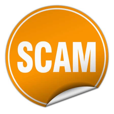 scam: scam round orange sticker isolated on white Illustration