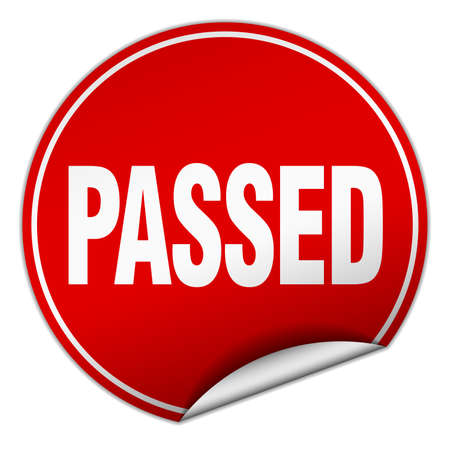 passed: passed round red sticker isolated on white