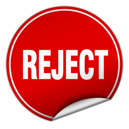 reject: reject round red sticker isolated on white