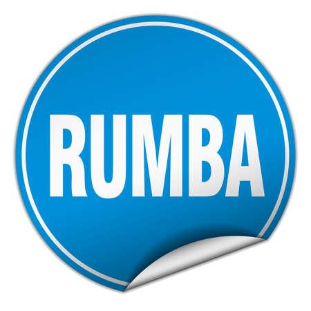 rumba: rumba round blue sticker isolated on white