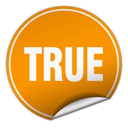 true: true round orange sticker isolated on white