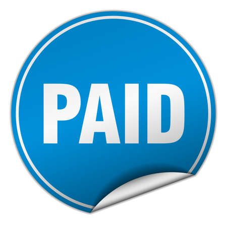 paid: paid round blue sticker isolated on white