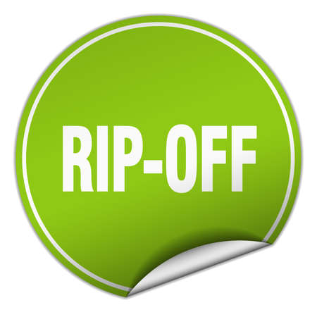 rip off: rip-off round green sticker isolated on white