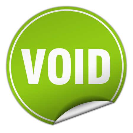 void: void round green sticker isolated on white