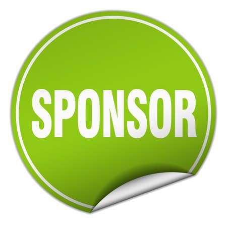 sponsor: sponsor round green sticker isolated on white