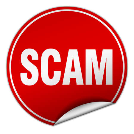scam: scam round red sticker isolated on white Illustration