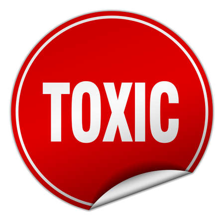 toxic: toxic round red sticker isolated on white