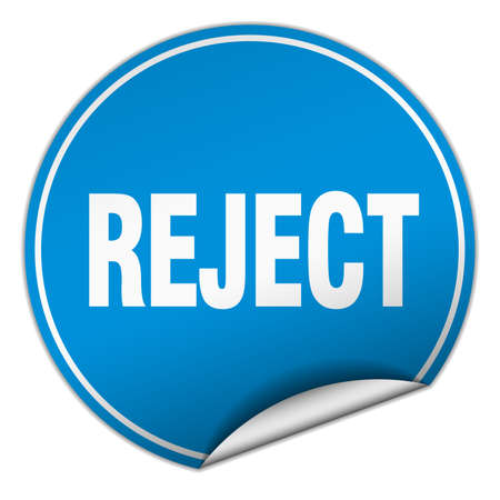 reject: reject round blue sticker isolated on white