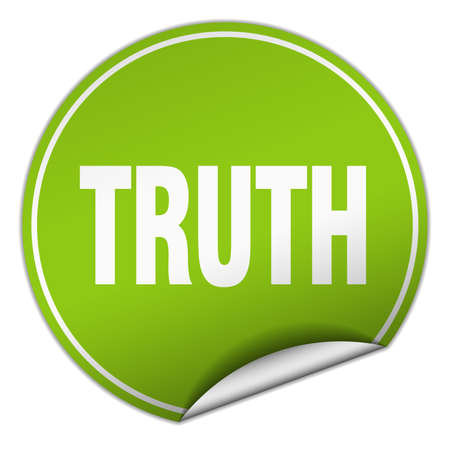 truth: truth round green sticker isolated on white
