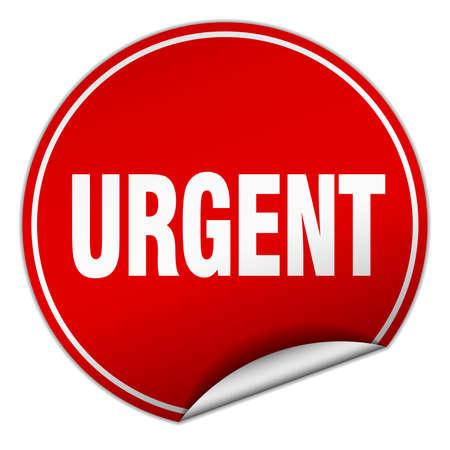 urgent: urgent round red sticker isolated on white