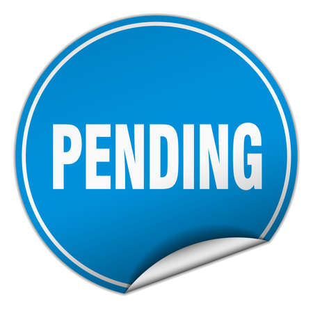 pending: pending round blue sticker isolated on white