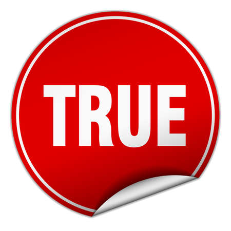 true: true round red sticker isolated on white Illustration