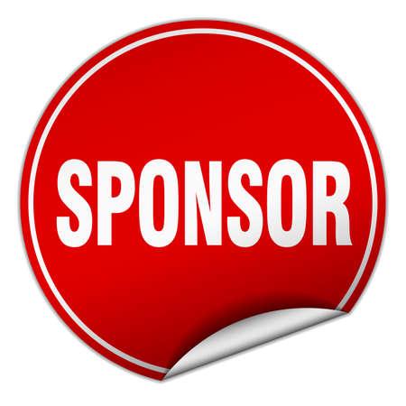 sponsor: sponsor round red sticker isolated on white Illustration