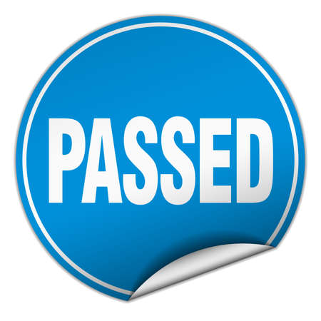 passed: passed round blue sticker isolated on white