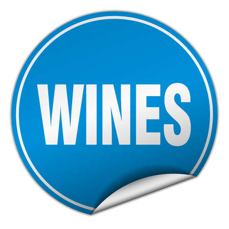 wines: wines round blue sticker isolated on white