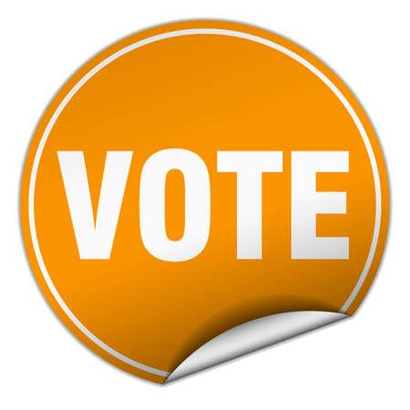 democrats: vote round orange sticker isolated on white