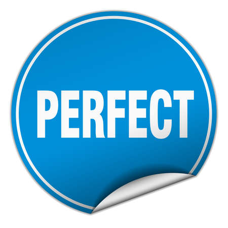 perfect round blue sticker isolated on white Illustration