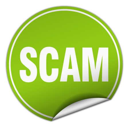 scam: scam round green sticker isolated on white Illustration