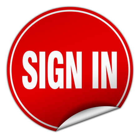 sign in: sign in round red sticker isolated on white Illustration