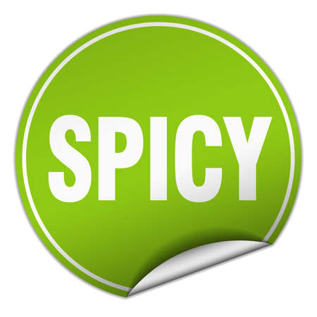 spicy: spicy round green sticker isolated on white