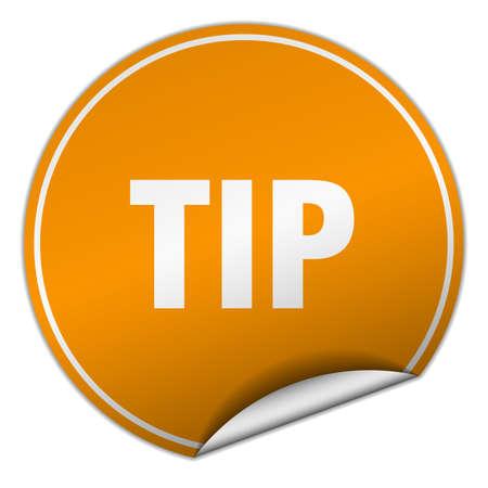 tip: tip round orange sticker isolated on white