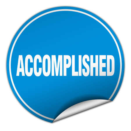 accomplish: accomplished round blue sticker isolated on white Illustration