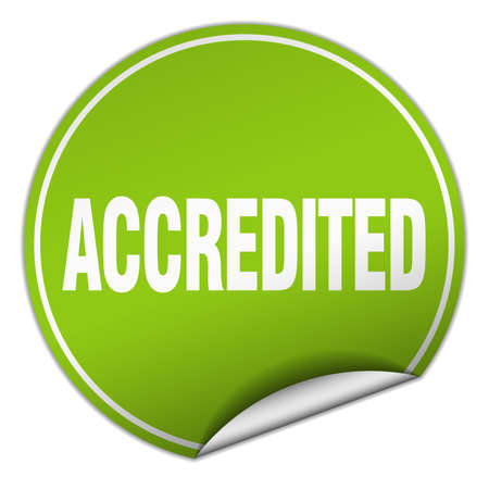 accredited: accredited round green sticker isolated on white