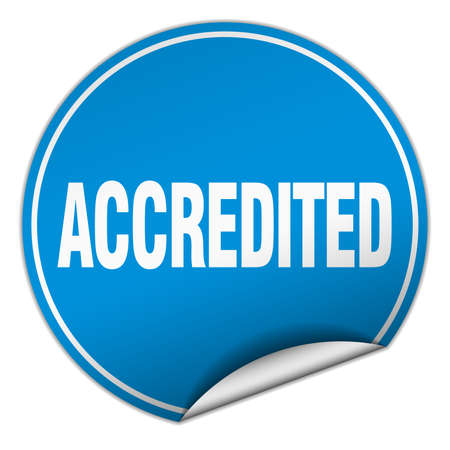accredited: accredited round blue sticker isolated on white