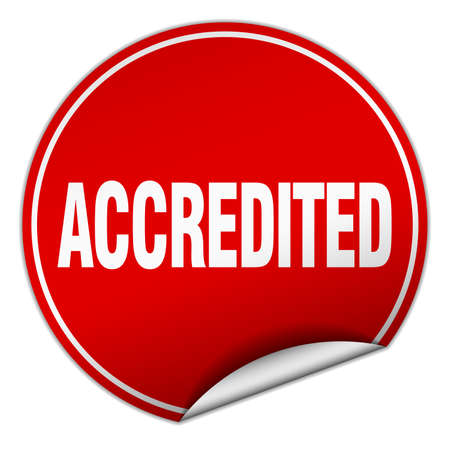accredited: accredited round red sticker isolated on white Illustration