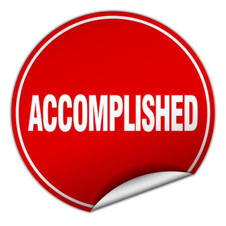 accomplish: accomplished round red sticker isolated on white