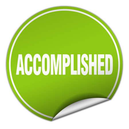accomplish: accomplished round green sticker isolated on white Illustration