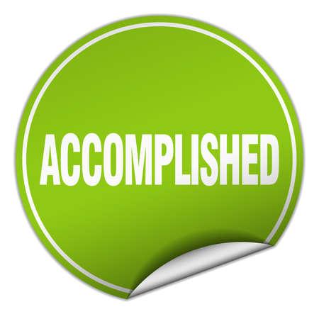 accomplished: accomplished round green sticker isolated on white Illustration