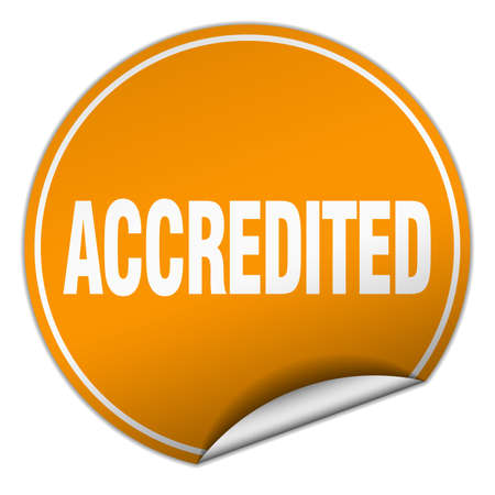 accredited: accredited round orange sticker isolated on white Illustration