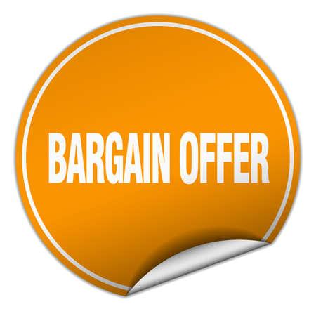 bargain: bargain offer round orange sticker isolated on white Illustration