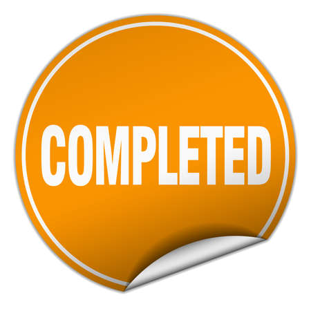 completed: completed round orange sticker isolated on white Illustration