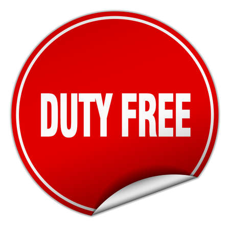 duty: duty free round red sticker isolated on white Illustration