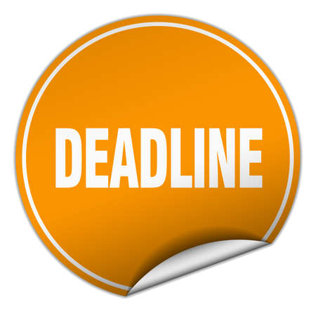 deadline: deadline round orange sticker isolated on white