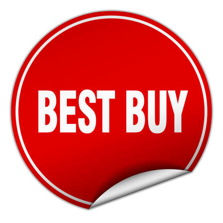 best buy: best buy round red sticker isolated on white Illustration