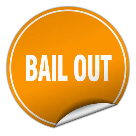bail: bail out round orange sticker isolated on white