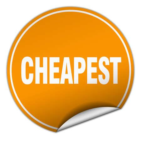 cheapest: cheapest round orange sticker isolated on white Illustration