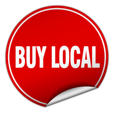buy local: buy local round red sticker isolated on white