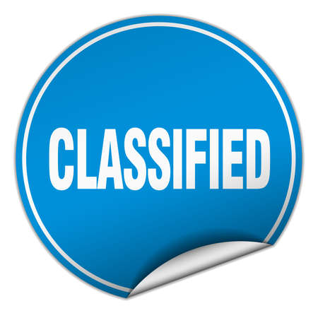 classified: classified round blue sticker isolated on white