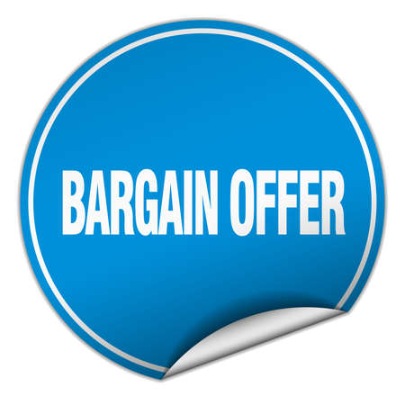bargaining: bargain offer round blue sticker isolated on white