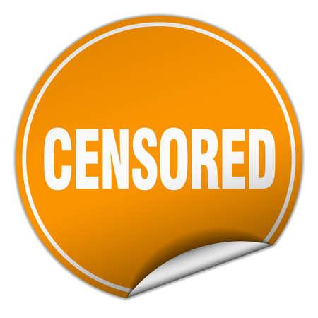 censored: censored round orange sticker isolated on white