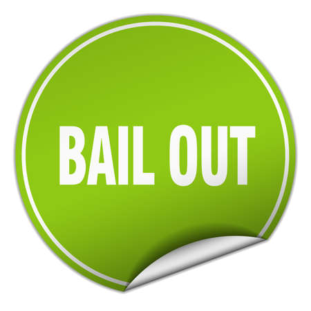 bail: bail out round green sticker isolated on white