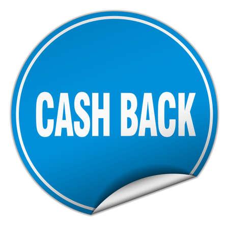 cash back: cash back round blue sticker isolated on white