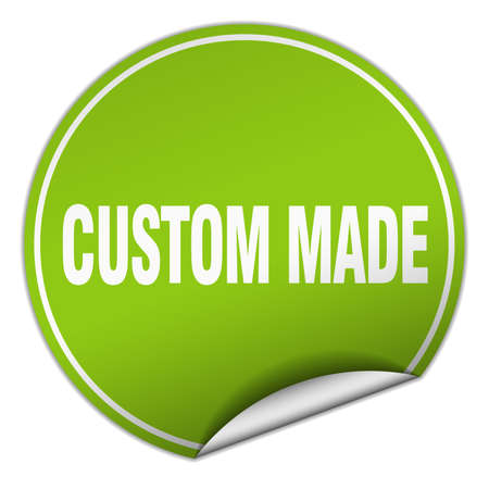 custom made: custom made round green sticker isolated on white