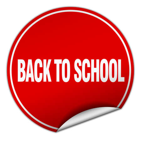 round back: back to school round red sticker isolated on white