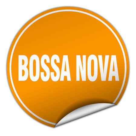 nova: bossa nova round orange sticker isolated on white Illustration